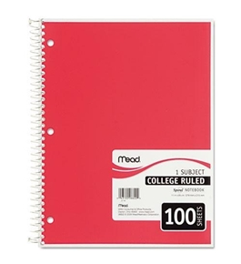 "Mead 06622 Spiral Bound Notebook, College Rule, 8"" x 10.5"", White, 100 Sheets"
