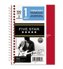 FiveStar 45484 Wirebound Notebook, College Rule, 5 x 7, Perforated, Poly Cover, 100 Sheets