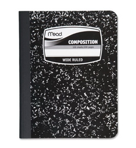 Mead Black Marble Wide-Ruled Composition Book (09910)