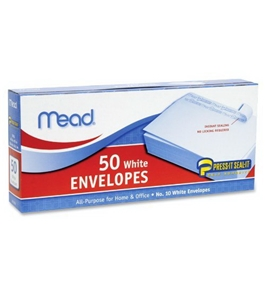 Mead Press-It Seal-It #10 White Envelopes, 50 Count (75024)