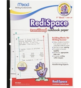 Mead RediSpace Transitional NoteBook Paper, Stage 4, 10.5 x 8 Inches, 50 Count (48018)