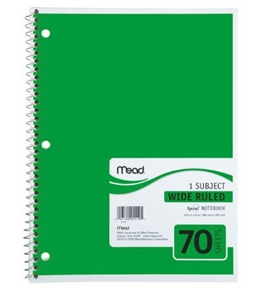 Mead Spiral Notebook, 1-Subject, 70-Count, Wide Rule, Green (05510)