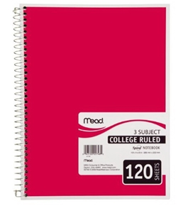 Mead Spiral Notebook, 3-Subject, 120-Count, College Ruled, Red (05748)