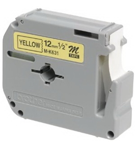 Brother MK631 Tape Cartridges 0.5 Inch Wide, Black On Yellow