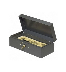 "MMF Industries Cash Box, Piano Hinges,Key Entry,10-1/4""x4-3/4""x2-7/8"",GY"