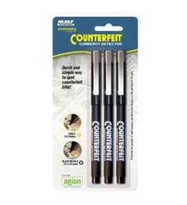 MMF Industries Counterfeit Detector Pen, 5.5 Inches, 3 Pens per Pack, Black Barrel (200045304)