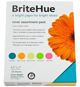 Mohawk BriteHue Vellum Cover Assortment Pack 65 Cover, 8.5 x 11 Inches, 125 Sheets per Pack (25 Sheets each) (Sold as 1 Pack)