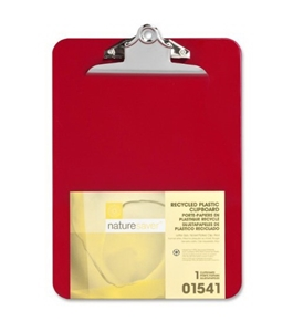 "Nature Saver Plastic Clipboard, Recycled, 1"" Cap, 9""X12-1/2"", Red"