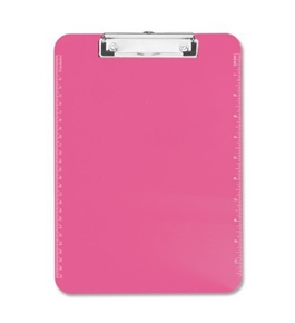 "Neon Pink Transparent Plastic Clipboard, 9"" x 12.5"" (SPR01868)"