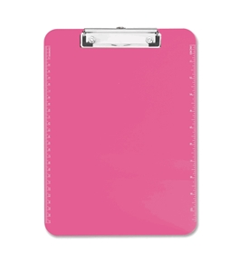 "Neon Pink Transparent Plastic Clipboard, 9"" x 12.5"""