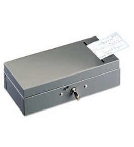 New-STEELMASTER by MMF Industries 221104201 - Steel Bond Box with Check Slot, Disc Lock, Gray - MMF221104201