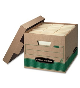 NEW - Stor/File Extra Strength Storage Box, Letter/Legal, Kraft/Green, 12/Carton - 12770
