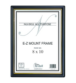 NuDell 8 x 10 Inches EZ Mount Document Frame Plastic Face, Black with Gold Trim