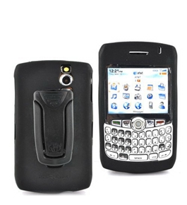 OEM Blackberry Curve 8300 Silicone Case Rubber Skin w/ Belt Clip - Black