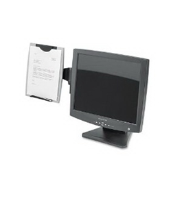 Office Suites Monitor Mount Copyholder, Plastic, Holds 150 Sheets, Black/Silver