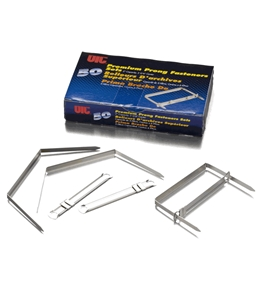 Officemate Premium Prong Fasteners, Complete Set, 2-Inch Capacity, 2.75-Inch Base, Box of 50 (99711)
