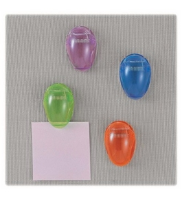 Officemate Standard Cubicle Clips, Assorted Translucent Colors, Pack of 4 (30172)