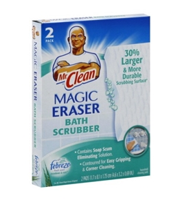 Mr. Clean Magic Eraser Bath Scrubber, with Febreze Fresh Scent Meadows & Rain , 2 Ct.