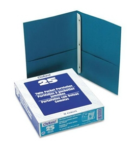 Oxford 57755 Twin Pocket Portfolios with Three Tang Fasteners, Teal, 25/box