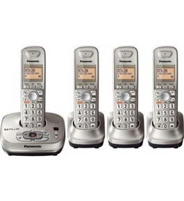 Panasonic KX-TG4024N DECT 6.0 PLUS Expandable Digital Cordless Phone with Answering System, Champagne Gold, 4 Handsets
