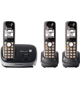 Panasonic KX-TG6513B DECT 6.0 PLUS Expandable Cordless Phone System, Black, 3 Handsets