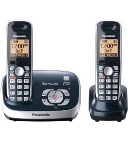 Panasonic KX-TG6572C DECT 6.0 Cordless Phone with Answeing System, Metallic Blue, 2 Handsets