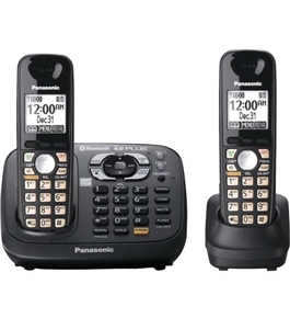 Panasonic KX-TG6582T DECT 6.0 PLUS Link-to-Cell via Bluetooth Cordless Phone with Answering System, Metallic Black, 2 Handsets
