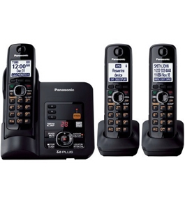 Panasonic KX-TG6633B DECT 6.0 Cordless Phone with Answering System, Black, 3 Handsets