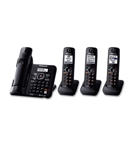 Panasonic KX-TG6644B DECT 6.0 Cordless Phone with Answering System, Black, 4 Handsets