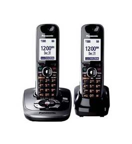 Panasonic KX-TG7532B DECT 6.0 PLUS Expandable Digital Cordless Phone with Answering System, Black, 2 Handsets