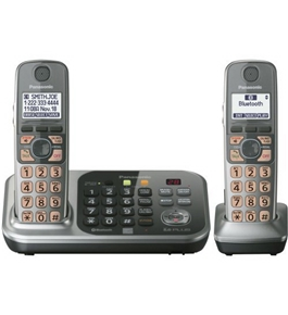 Panasonic KX-TG7742S DECT 6.0 Link-to-Cell via Bluetooth Cordless Phone with Answering System, Silver, 2 Handsets