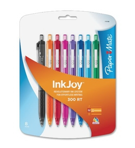 Paper Mate InkJoy 300 RT Retractable Medium Point Ballpoint Pens, Assorted Colors, 8 Pack (1781564)