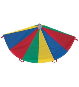 Parachute; 6 Ft. Diameter / 6 Handles; Nylon; Multi-Colored; no. CHSNP6