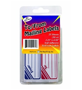 Pencil Grip The Classics To/From Mailing Labels, 1.25 x 4.5 Inches, Blue/Red/White, 50 Labels per Box