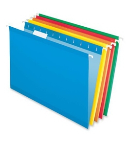 Pendaflex 415315ASST Hanging Folder, Reinforced, AssortedBrights, 1/5 Tab, Legal, 25 Per Box