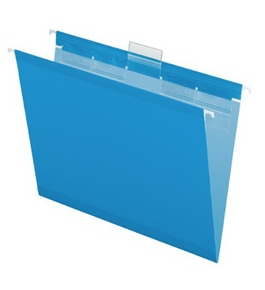 Pendaflex 42622 Ready Tab Colored Reinforced Hanging Letter Folders, 1/5 Cut, Blue, 25/box
