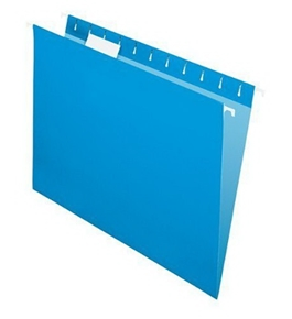 Pendaflex 81603 Recycled Colored Hanging File Folders, Letter, 1/5 Cut Tabs, Blue, 25/box