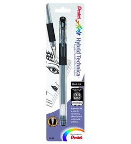 Pentel Arts Hybrid Technica 0.4 mm Pen, Ultra Fine Point, Black Ink, 1 Pack (KN104BPA)