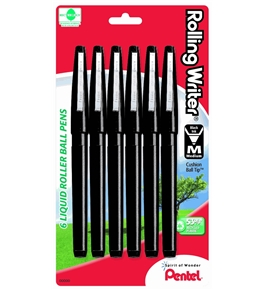 Pentel Rolling Writer Roller Ball Pen, Medium Line, Black Ink, 6 Pack (R100BPA-6)