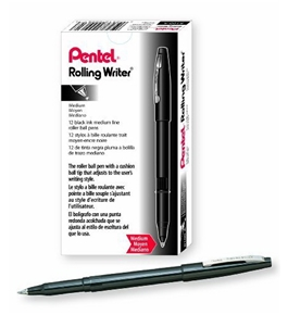 Pentel Rolling Writer Stick Roller Ball Pen, Medium Point, 0.40 mm Black Barrel/Ink 12-Count (R100-A)