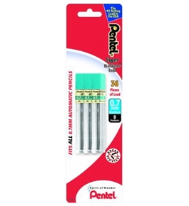 Pentel Super Hi-Polymer Lead Refill 0.7mm, B, 36 Pieces of Lead (L50BP3B-K6)