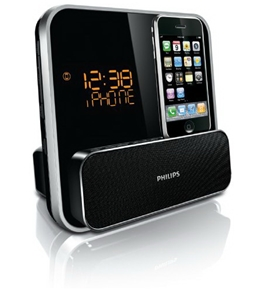 Philips DC315/37 Speaker System for 30-Pin iPod/iPhone with LED Clock Radio (Black)