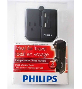Philips Travel 3 Outlet Adapter with 2 USB Charging Ports SPS2150WA/37