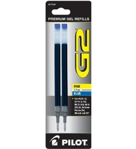 Pilot G2 Gel Ink Refill, 2-Pack for Rolling Ball Pens, Fine Point, Blue Ink (77241)
