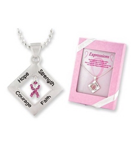 Pink Ribbon Breast Cancer Awareness DIAMOND EXPRESSIONS Necklace