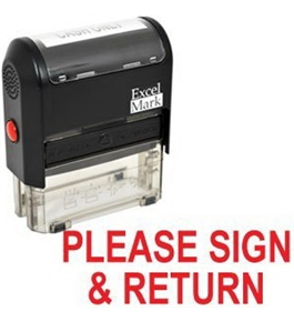 PLEASE SIGN & RETURN Self Inking Rubber Stamp - Red Ink (42A1539WEB-R)
