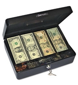 PM Company Security Select Spacious Size Cash Box, 9-Compartment Tray, 2 Keys, Black w/Silver Handle