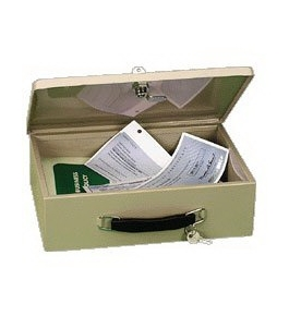 "PM Company 4968, Cash Boxes Fire Retardant Security Box, 12-3/4""W x 8 -1/4""L x 4""H, 6 per ctn"