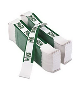 PMC55028 Color-Coded Kraft Currency Straps Dollar Bill $200, Self-Adhesive