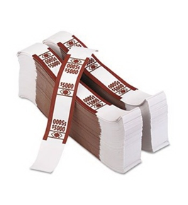 PMC55033 Color-Coded Kraft Currency Straps $50 Bill $5000, Self-Adhesive
